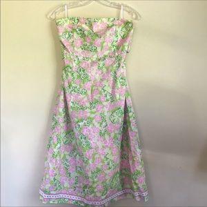 Lilly Pulitzer strapless cotton dress tiger print